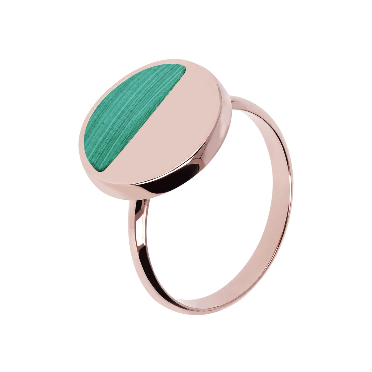 Two Tone Disc Ring MALACHITE