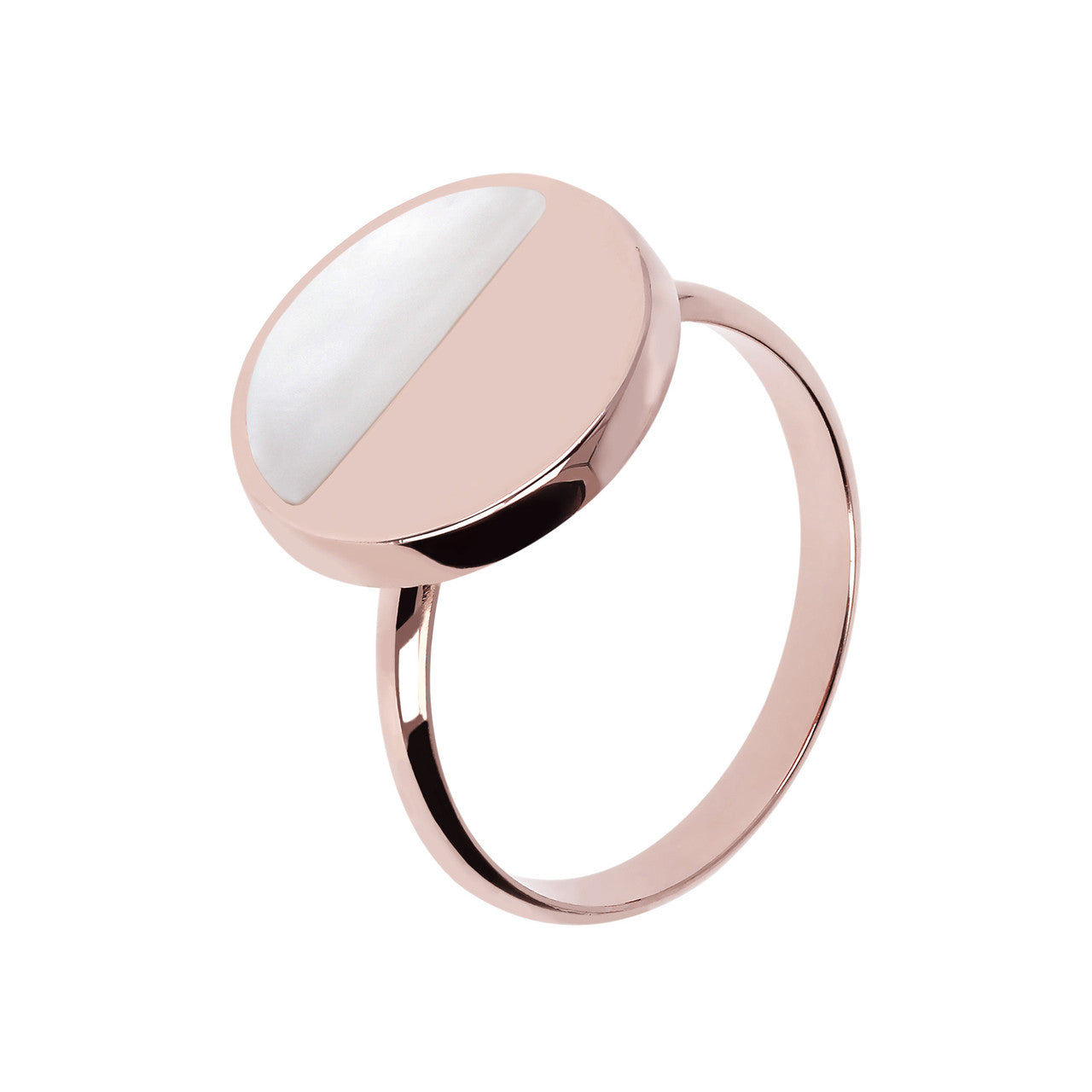 Two Tone Disc Ring WHITE MOP
