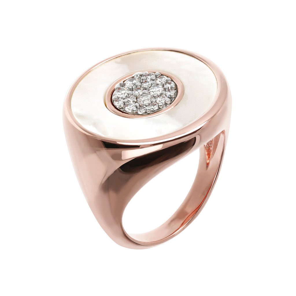 Two Tone Signet Ring with Pave