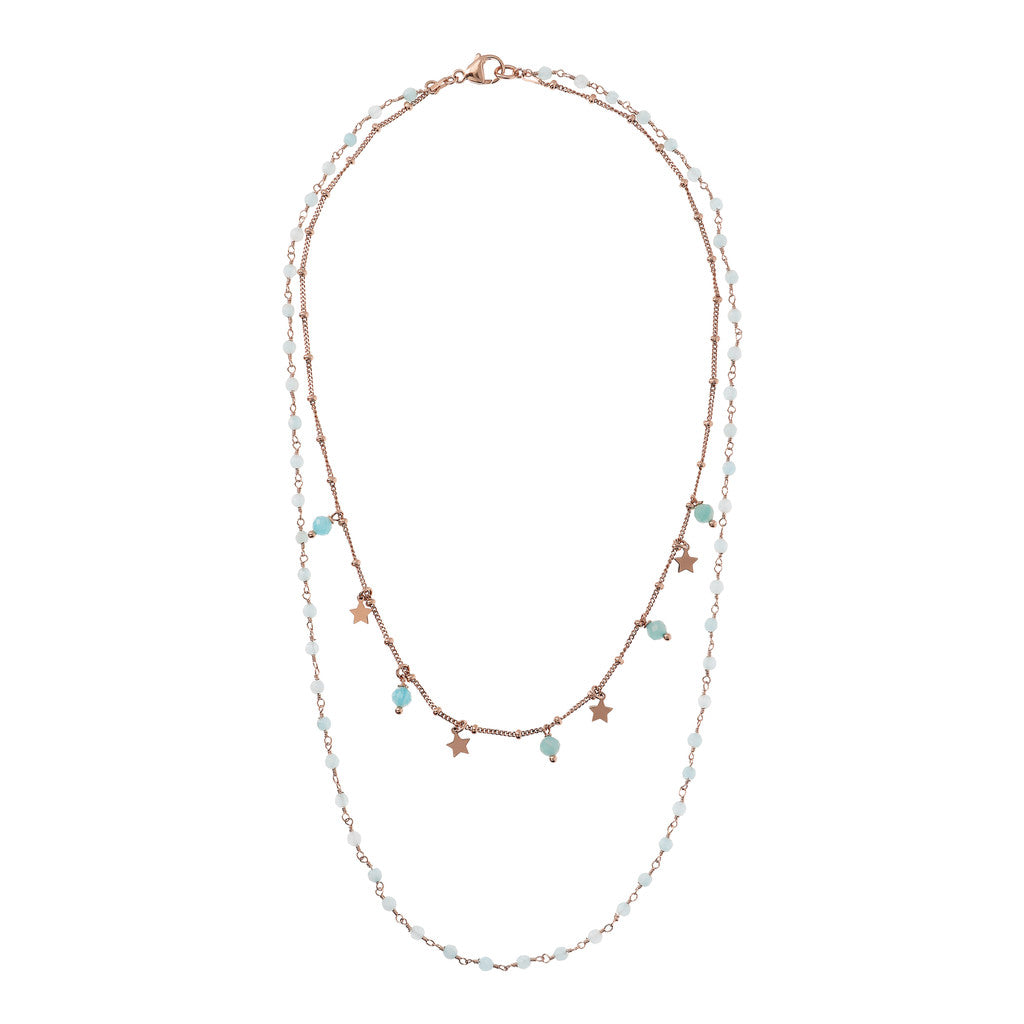 VARIEGATA 2 STRANDS NECKLACE WITH TUORMALINE GEMSTONE - WSBZ01794 LIGHT BLUE QUARTZITE from above