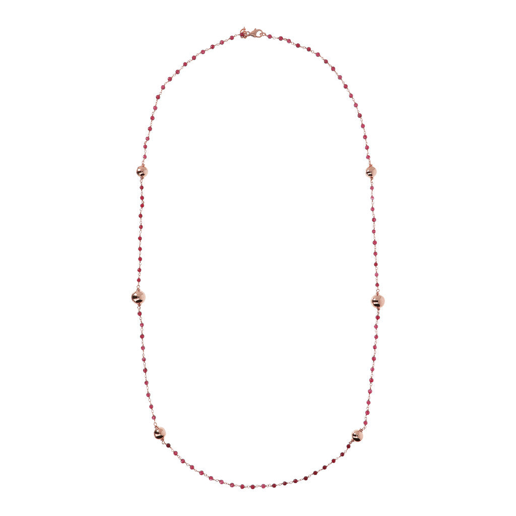 VARIEGATA CHOICE OF GEMSTONE ROSARY  NECKLACE  WITH WHITE MING CULTURED PEARL STATION - WSBZ01352 WINE AGATE from above