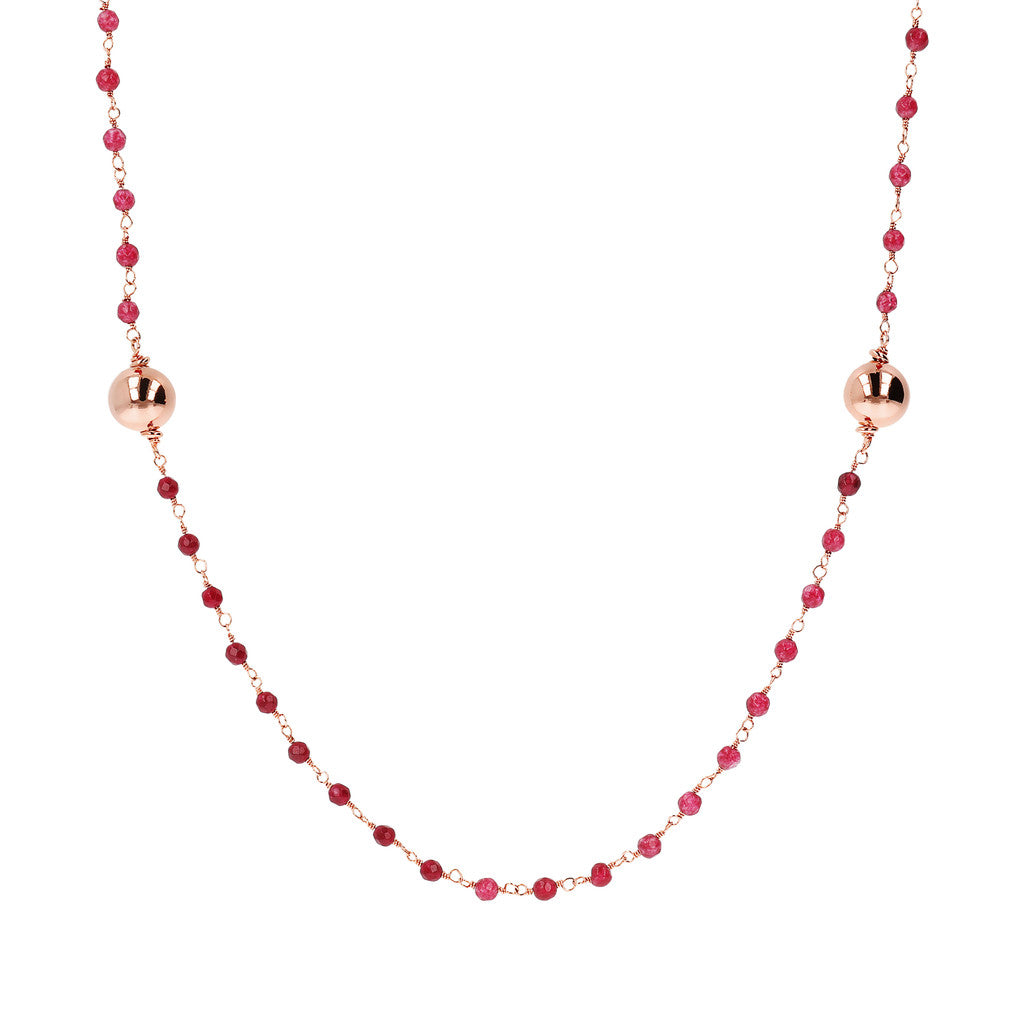 VARIEGATA CHOICE OF GEMSTONE ROSARY  NECKLACE  WITH WHITE MING CULTURED PEARL STATION - WSBZ01352 WINE AGATE