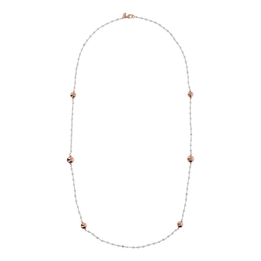 VARIEGATA CHOICE OF GEMSTONE ROSARY  NECKLACE  WITH WHITE MING CULTURED PEARL STATION - WSBZ01352 from above