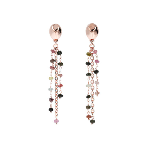 VARIEGATA DANGLE EARRING WITH MULTISTRANDS OVAL ROLO AND ROSARY  ROUNDELS TURMALINE GEMSTONE AND NUGGET ELEMENT - WSBZ01228