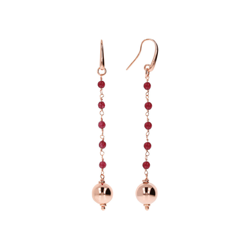 VARIEGATA DANGLE EARRING WITH  - WSBZ01355 WINE AGATE front and side