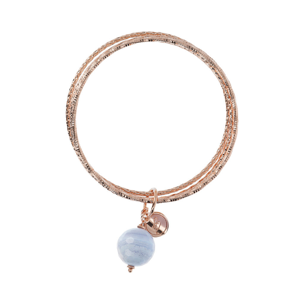 VARIEGATA Gemstone slip-on bracelet - WSBZ01386 BLUE LACE AGATE side
