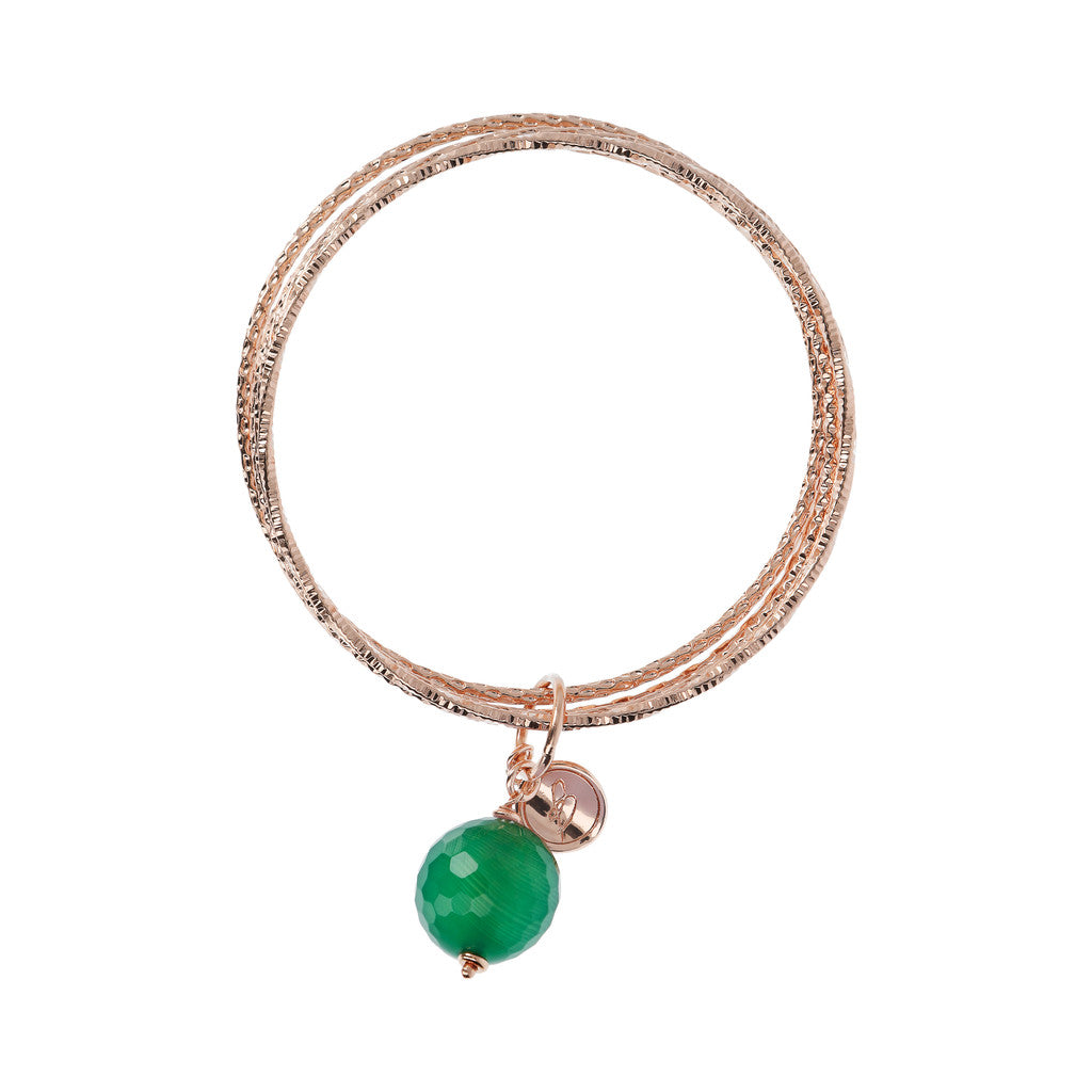 VARIEGATA Gemstone slip-on bracelet - WSBZ01386 GREEN CHALCEDONY side
