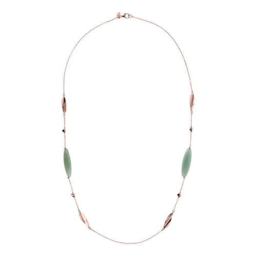 VARIEGATA NECKLACE WITH POLISHED FANCY LINK AND BARREL ALMOND CUT GREEN AGATE GEMSTONE - WSBZ01487 from above