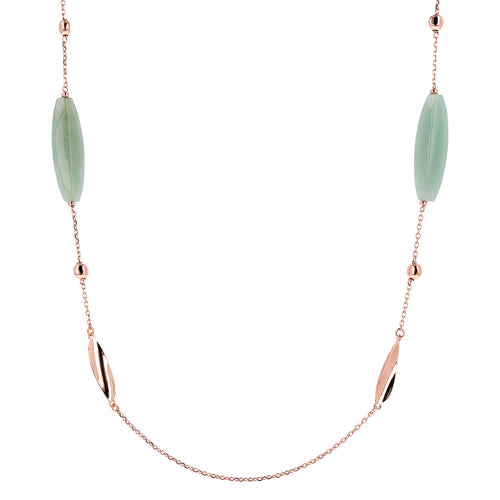 VARIEGATA NECKLACE WITH POLISHED FANCY LINK AND BARREL ALMOND CUT GREEN AGATE GEMSTONE - WSBZ01487