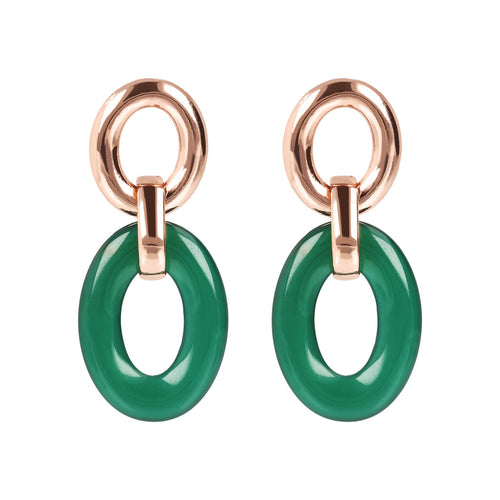VARIEGATA OVAL LINKSTONE EARRINGS - WSBZ01625 GREEN CHALCEDONY