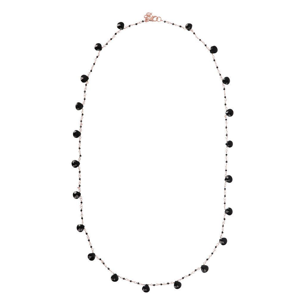 VARIEGATA ROSARY GEMSTONE NECKLACE - BLACK SPINEL - WSBZ01554 from above
