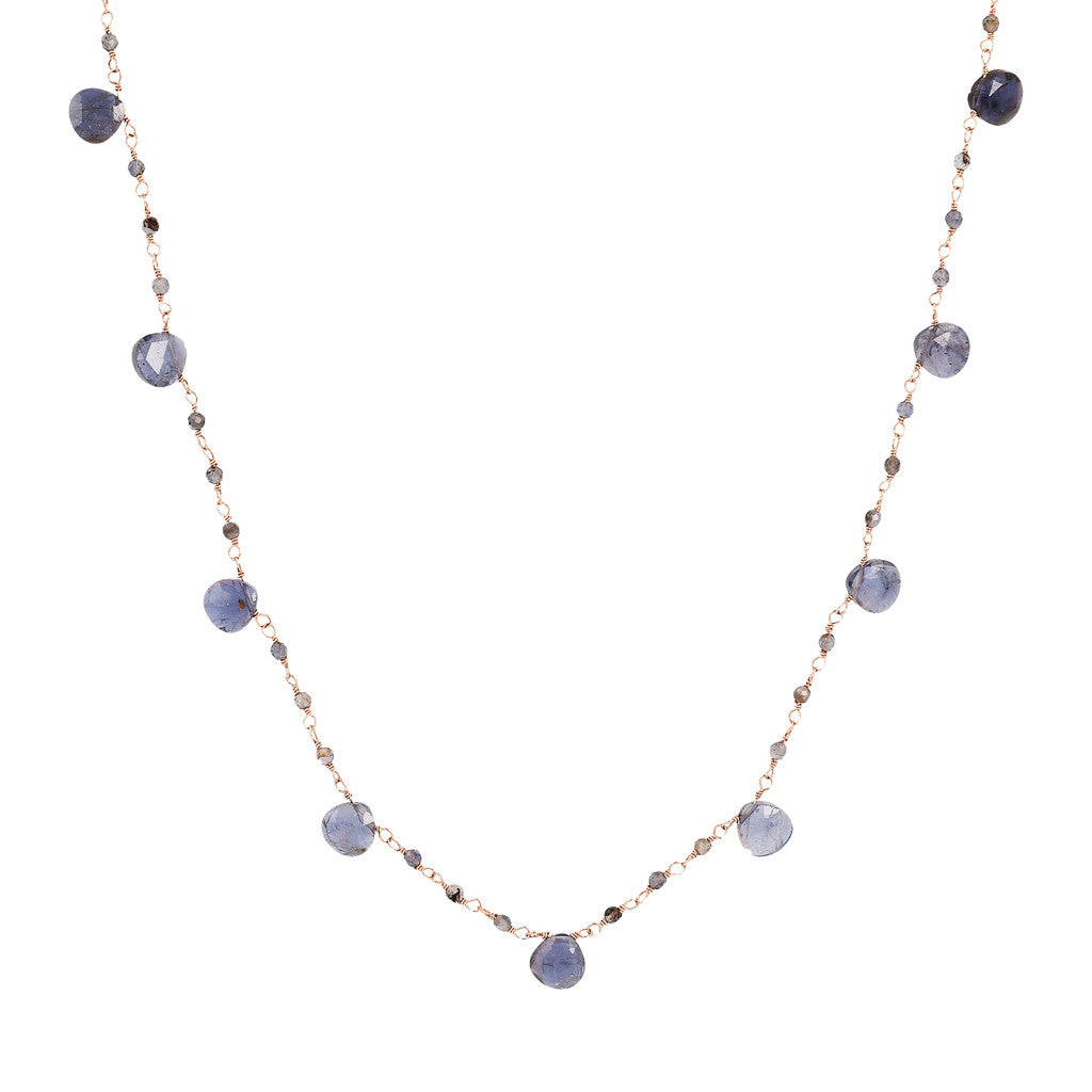VARIEGATA ROSARY GEMSTONE NECKLACE - IOLITE - WSBZ01554
