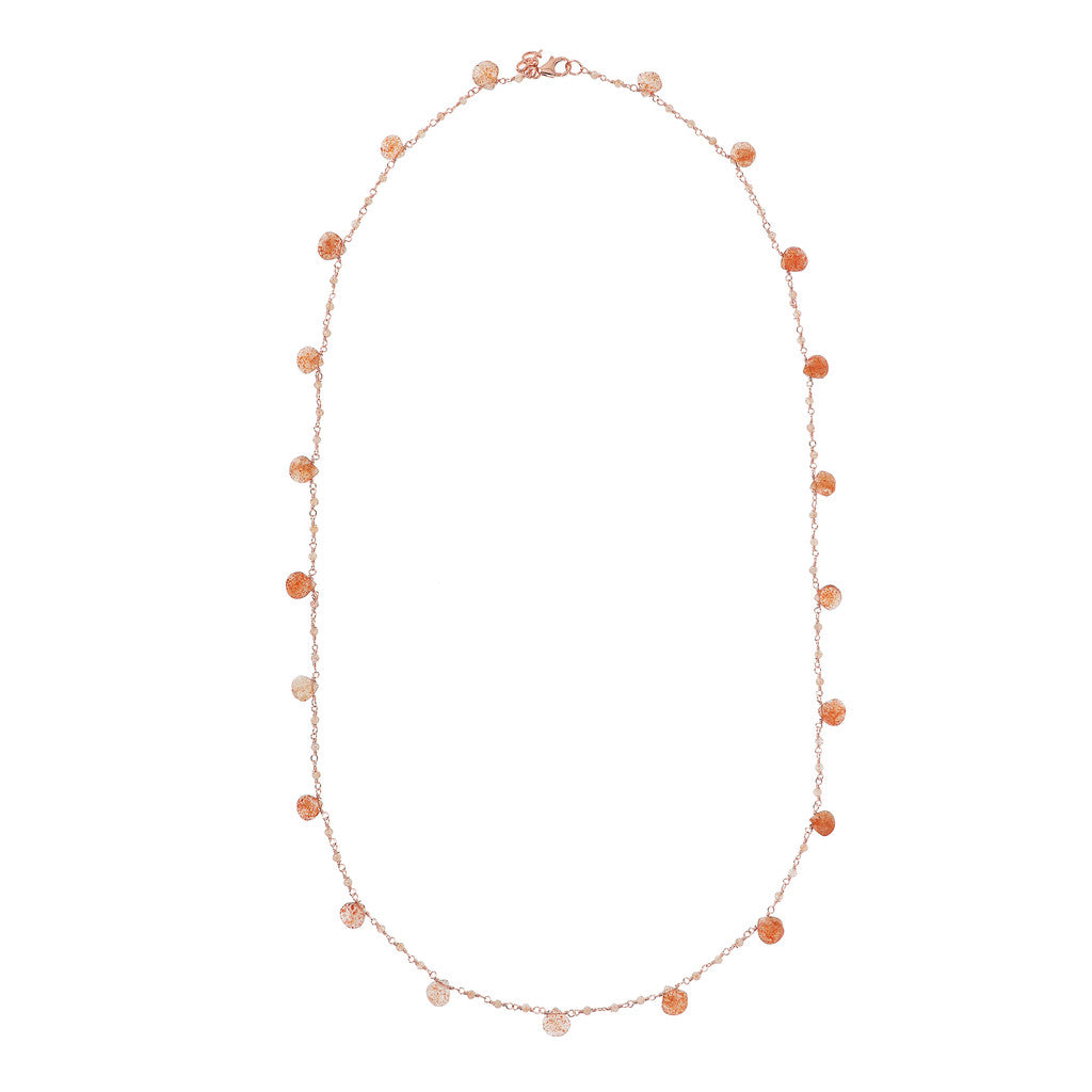 VARIEGATA ROSARY GEMSTONE NECKLACE - SUNSTONE - WSBZ01554 from above