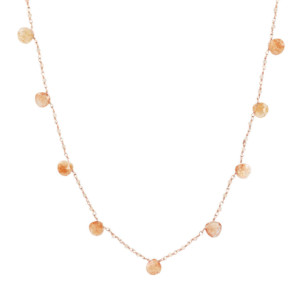 VARIEGATA ROSARY GEMSTONE NECKLACE - SUNSTONE - WSBZ01554