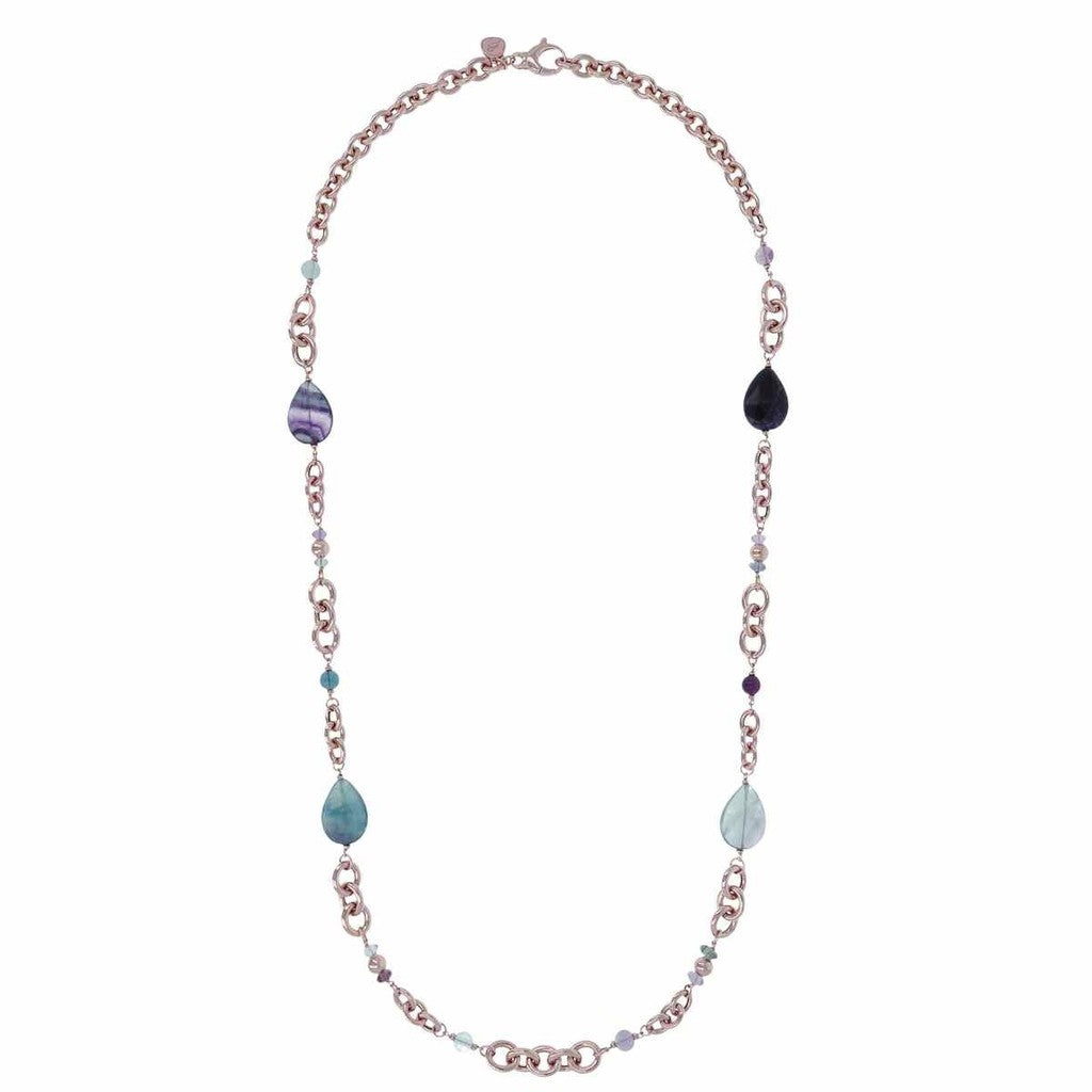 Variegata Oval Rolo Necklace With Teardrop Gemstones - WSBZ00769