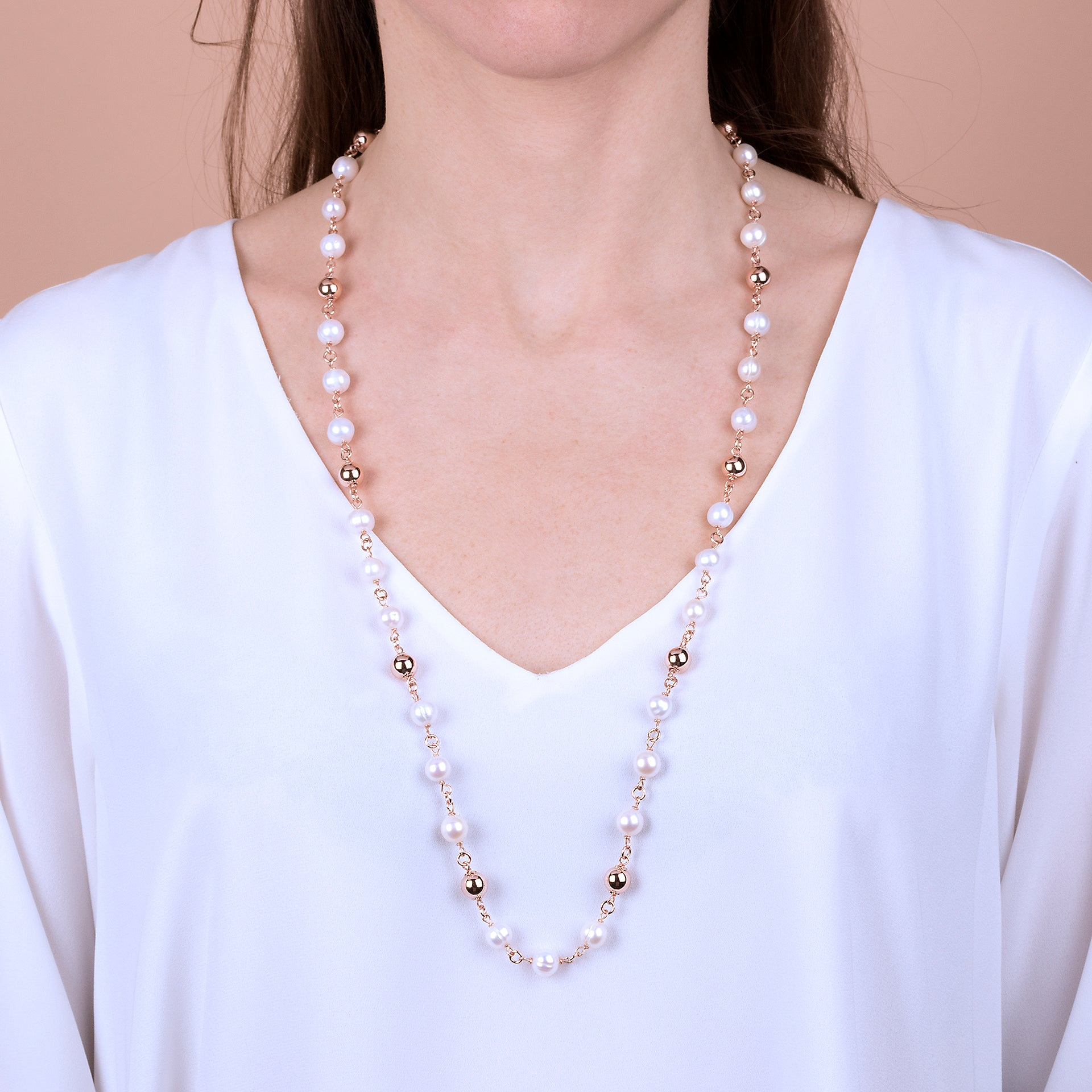 Maxima Freshwater Pearl Rosary Necklace with Beads