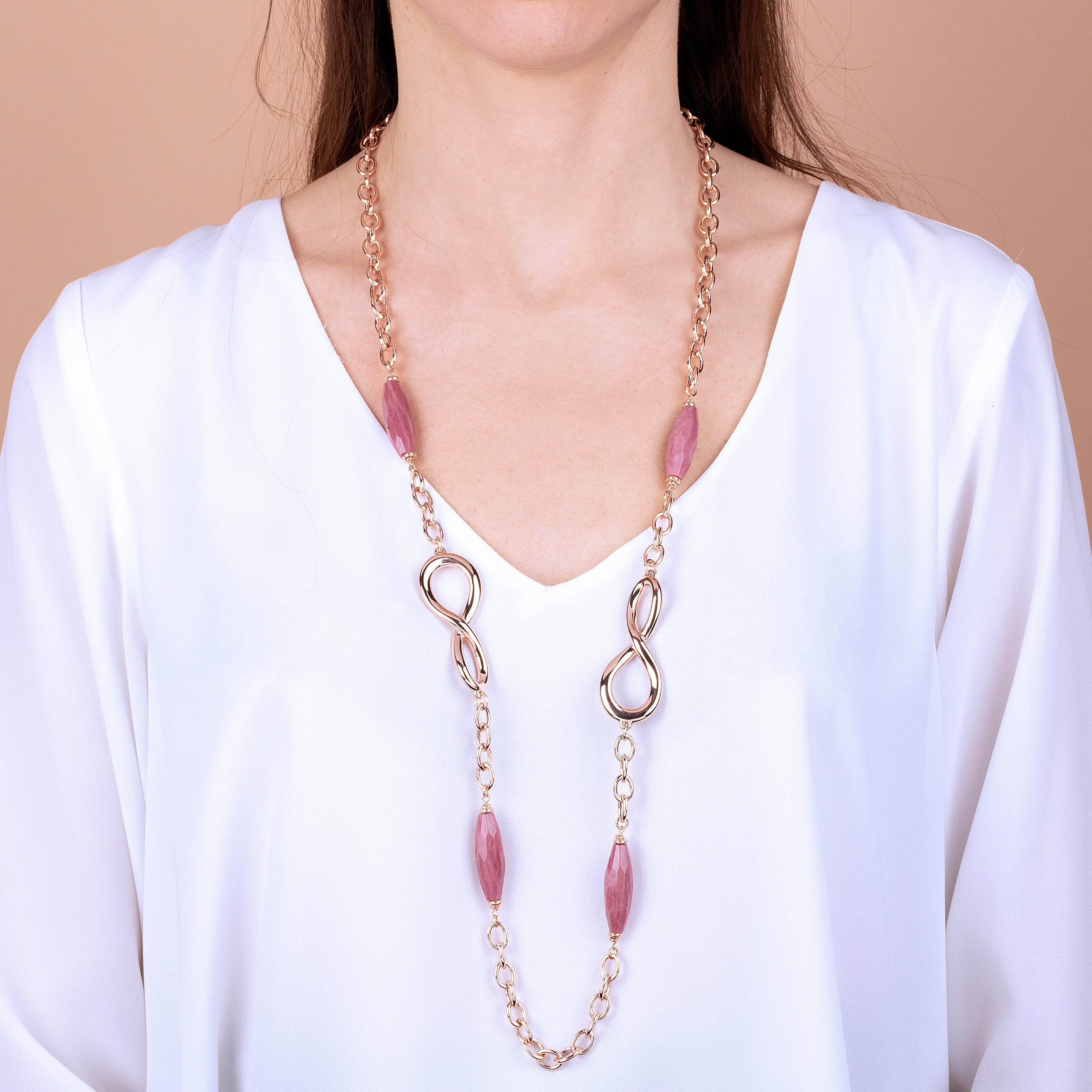 Infinity Long Necklace with Gemstones