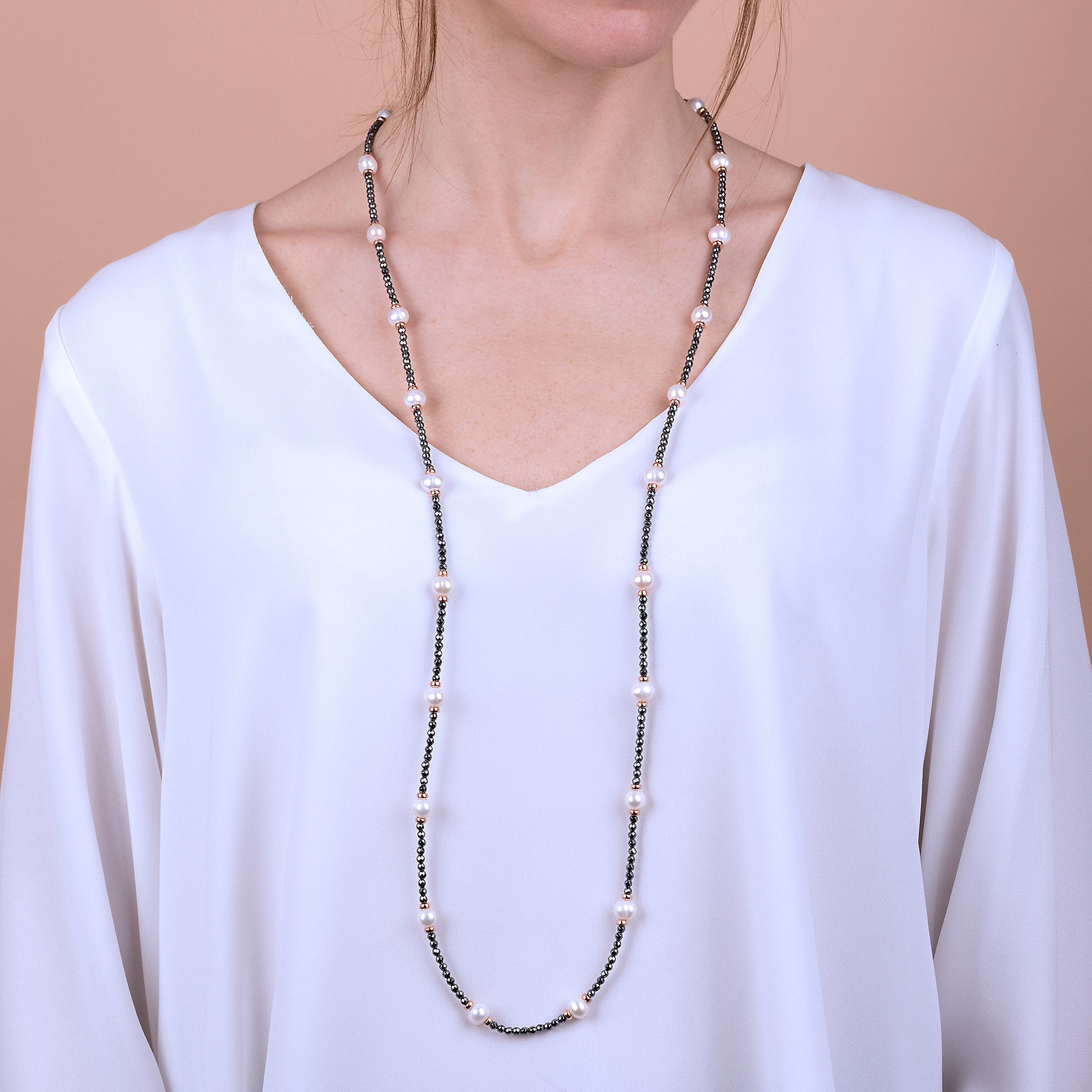 Maxima Freshwater Pearls and Hematite Long Necklace