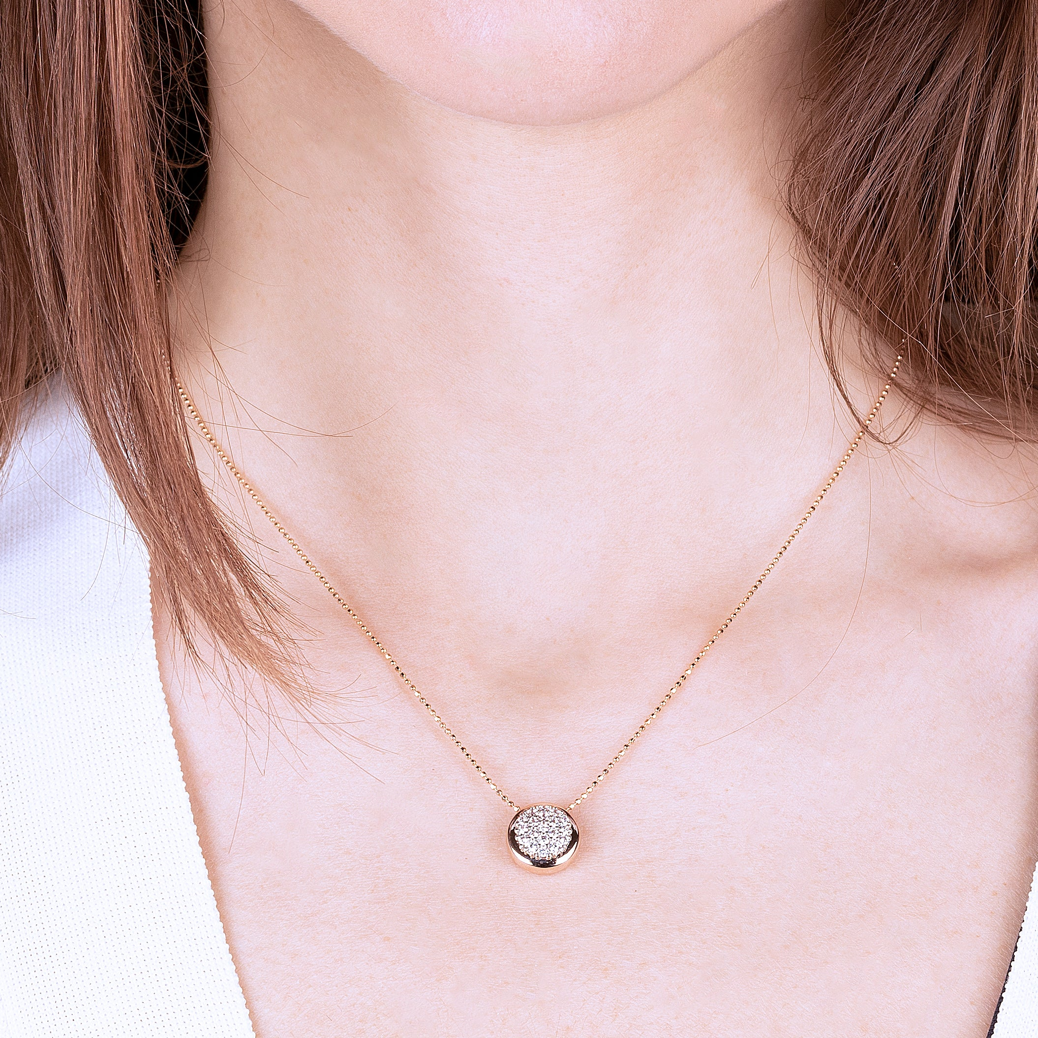Round Pendant Necklace with Pavè CZ