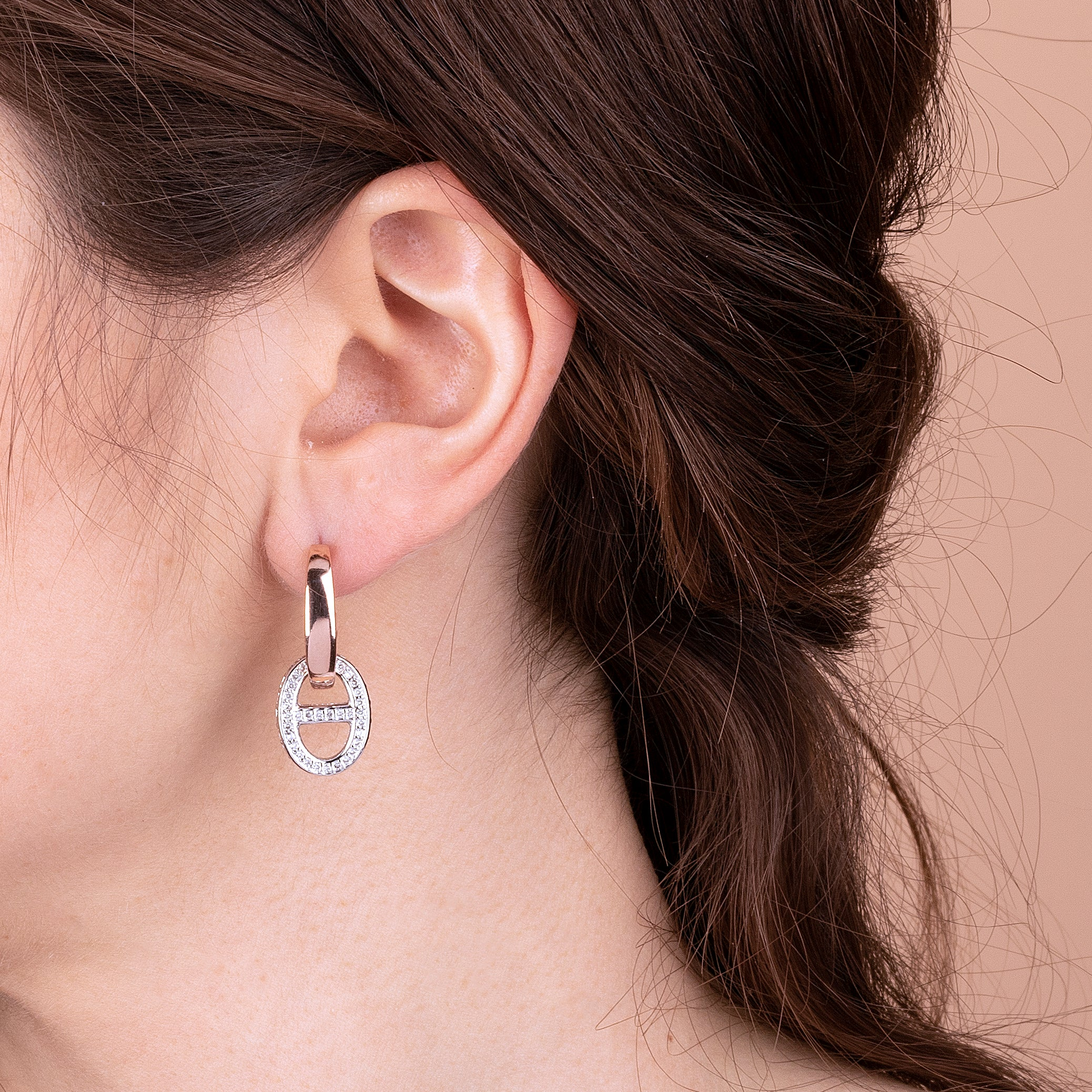 Marine Chain Earrings with CZ Detail