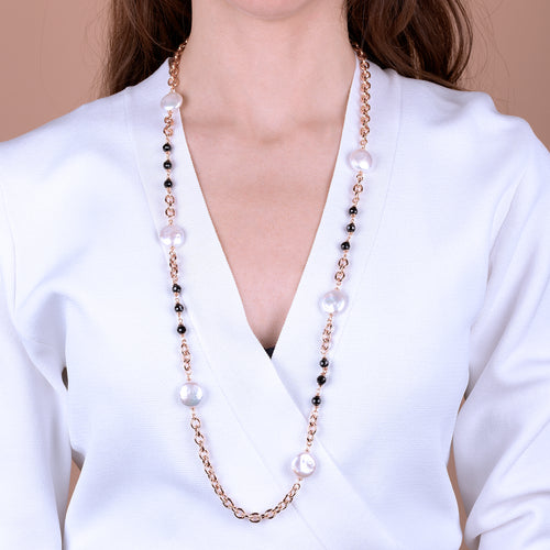 Bronzallure | Necklaces | Black Spinel and Baroque Pearls Necklace