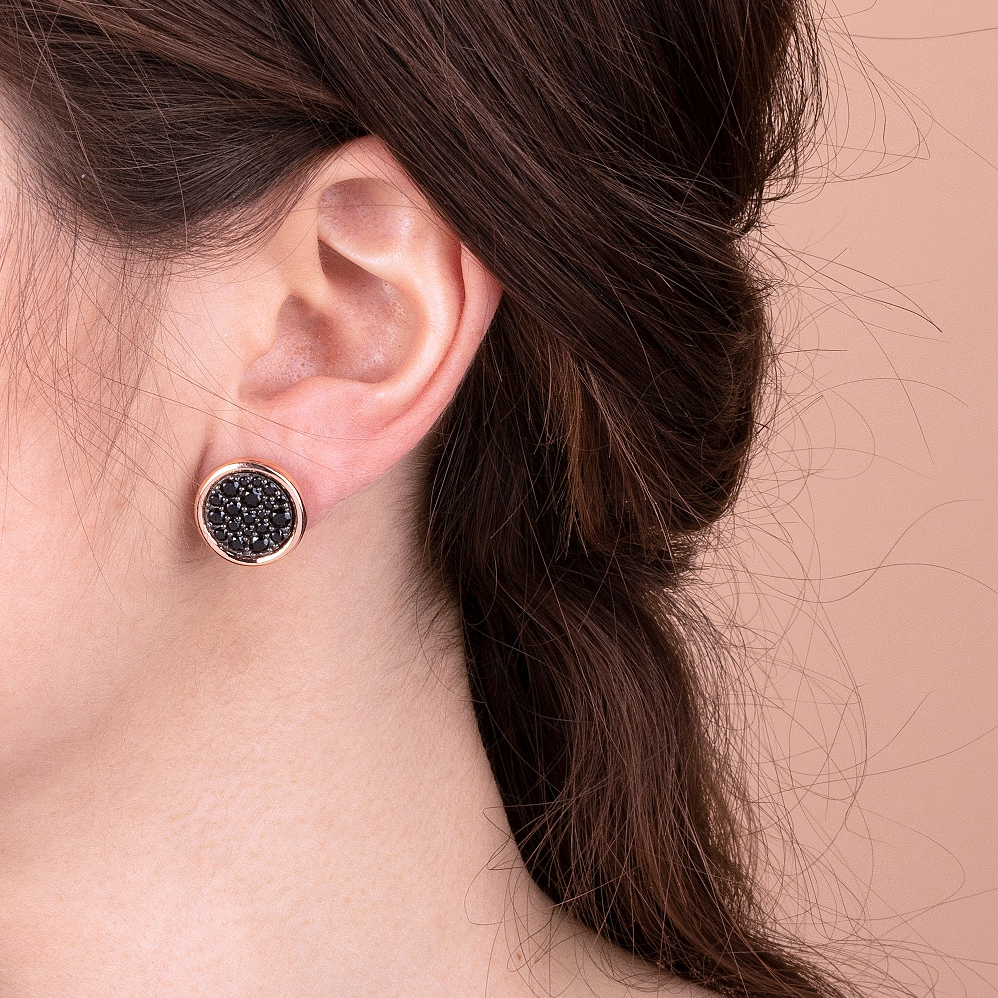 Button Earrings with CZ Pavè