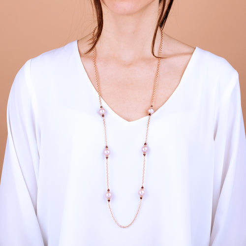 Bronzallure | Necklaces | Necklace with Ming Pearls and Garnet