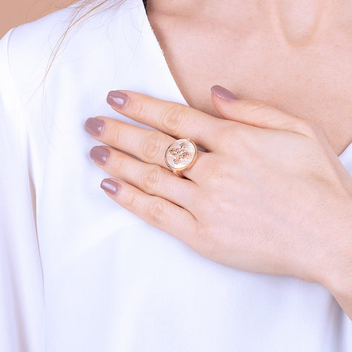 Bronzallure | Rings | Disc Stone Ring with Cross