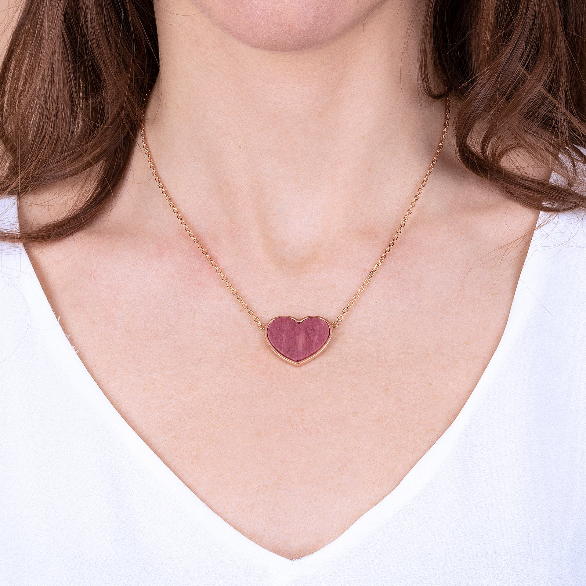 Flat Natural Stone Heart Pendant Necklace