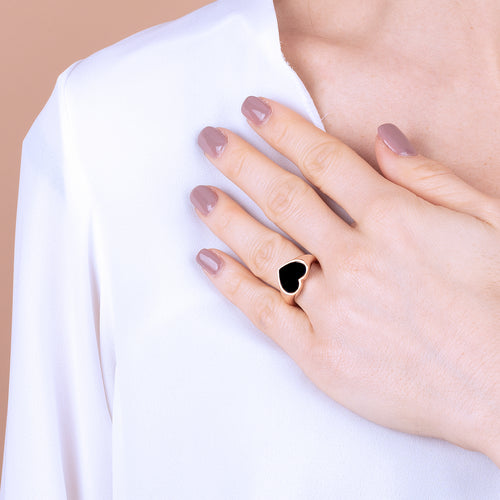 Bronzallure | Rings | Rounded Ring with Heart Shaped Natural Stone