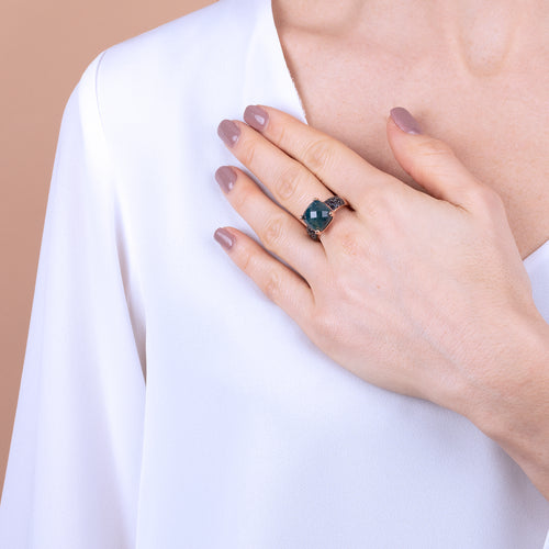 Bronzallure | Rings | Round Faceted Stone Ring with Pave