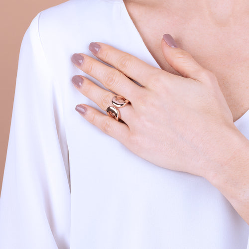 Bronzallure | Rings | Golden Rosé Heart Shaped Open Ring