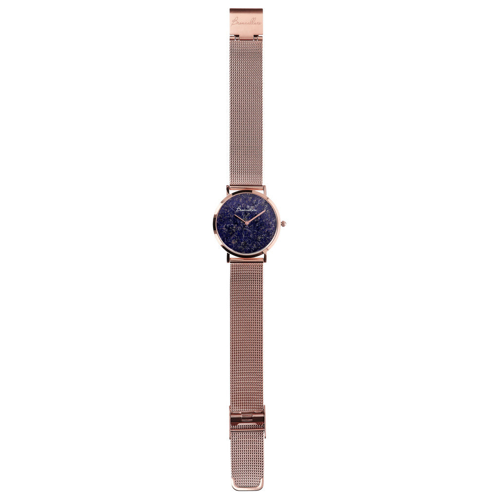 Watch Stainless Steel in Lapis bracelet