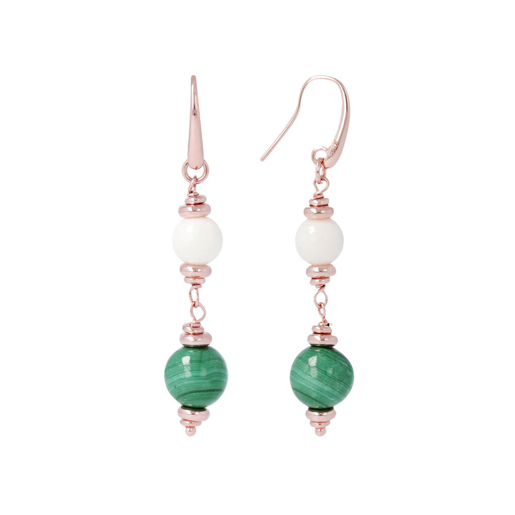 White Coral Malachite Dangle Earrings front and side