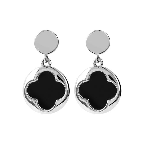 18k white gold earrings: White Gold Earrings Quatrefoil