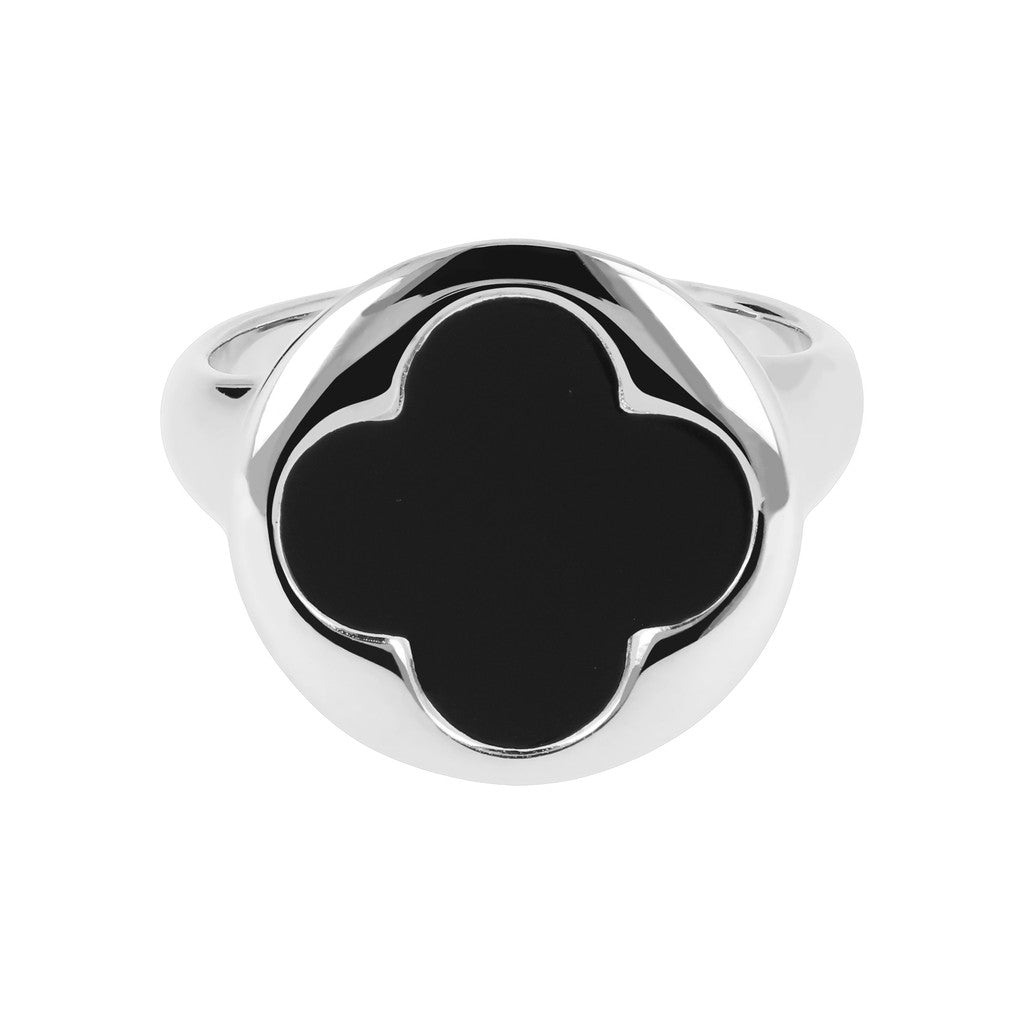 White Gold Ring Quatrefoil  setting