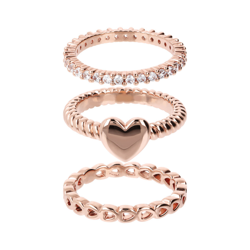 band rings, eternity ring, heart ring, pink gold, ring set, tennis ring, rose gold band rings, simple ring design, italian jewellery, made in italy setting