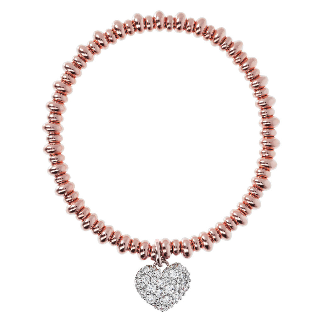 Bronzallure | Bracelets | Stretch Beaded Bracelet with CZ Heart Pendant