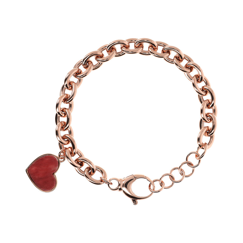 bracelet, jewelry, bijoux, rose gold bracelet, chain bracelet, charm bracelets, heart bracelet, heart pendant, pink gold, rose gold chain RED FOSSIL WOOD