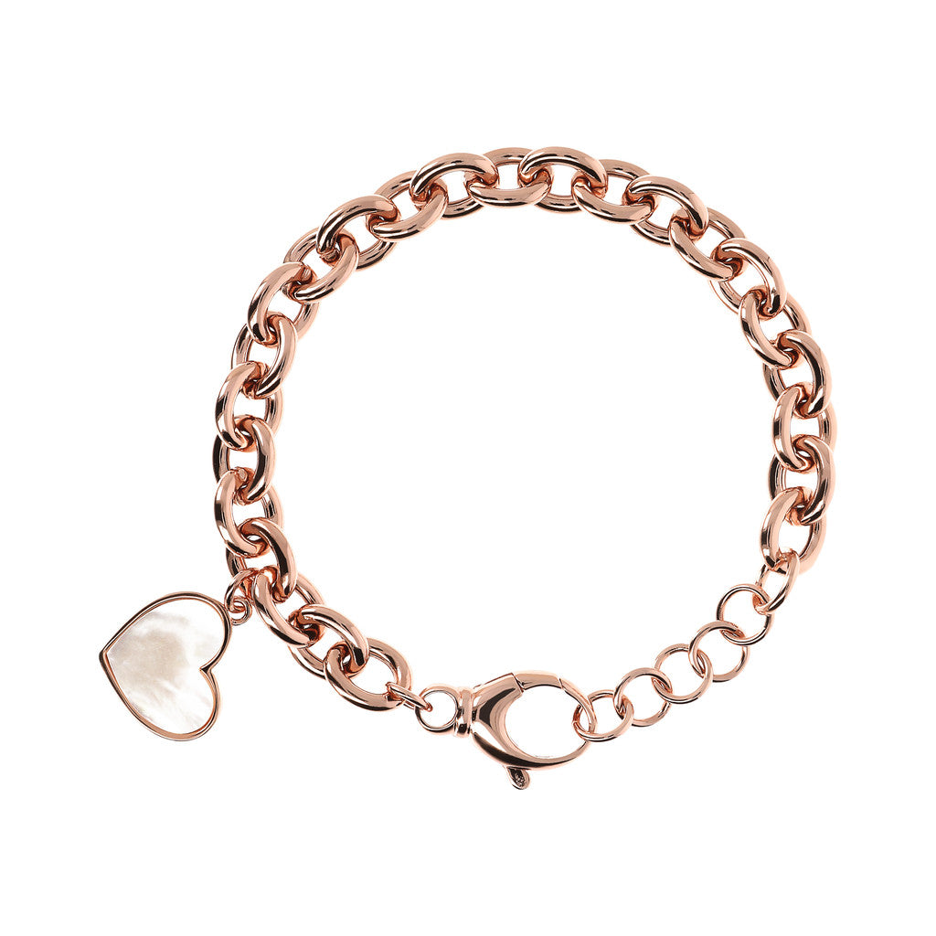 bracelet, jewelry, bijoux, rose gold bracelet, chain bracelet, charm bracelets, heart bracelet, heart pendant, pink gold, rose gold chain WHITE MOP