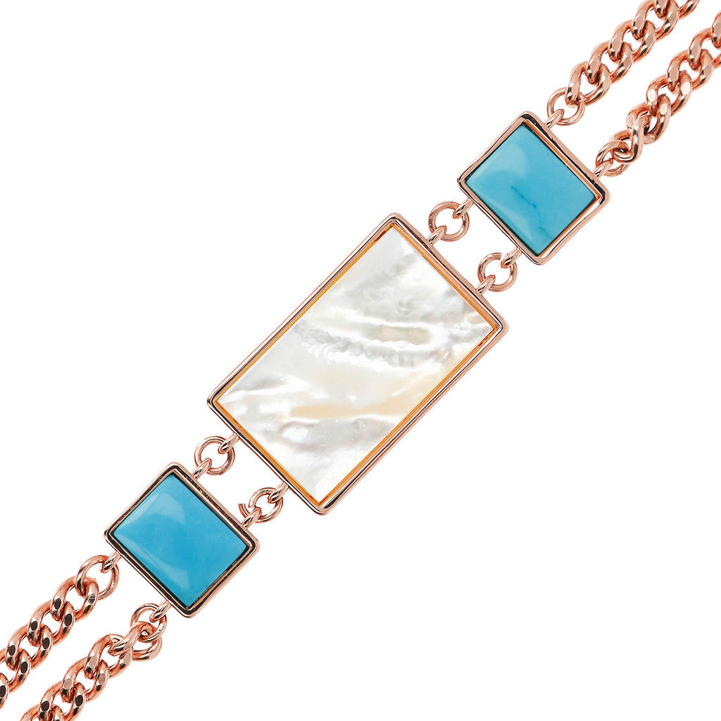 chain ALBA 2 STRANDS CURB BRACELET WITH MOP AND GEMSTONE - WSBZ01783 MAGNESITE