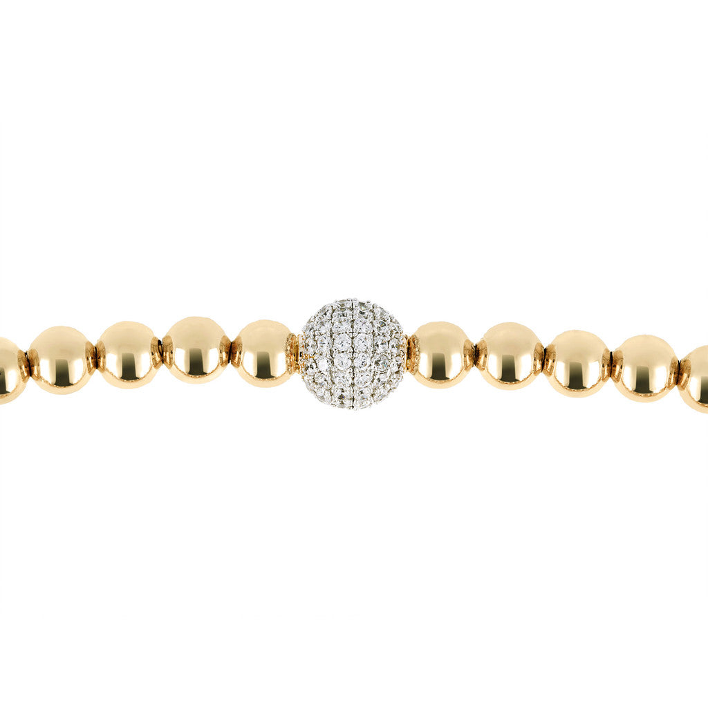 chain ALTISSIMA BRONZALLURE  GOLDEN SHINY  STRETCH Bead With Cz BRACELET - WSBZ00590Y