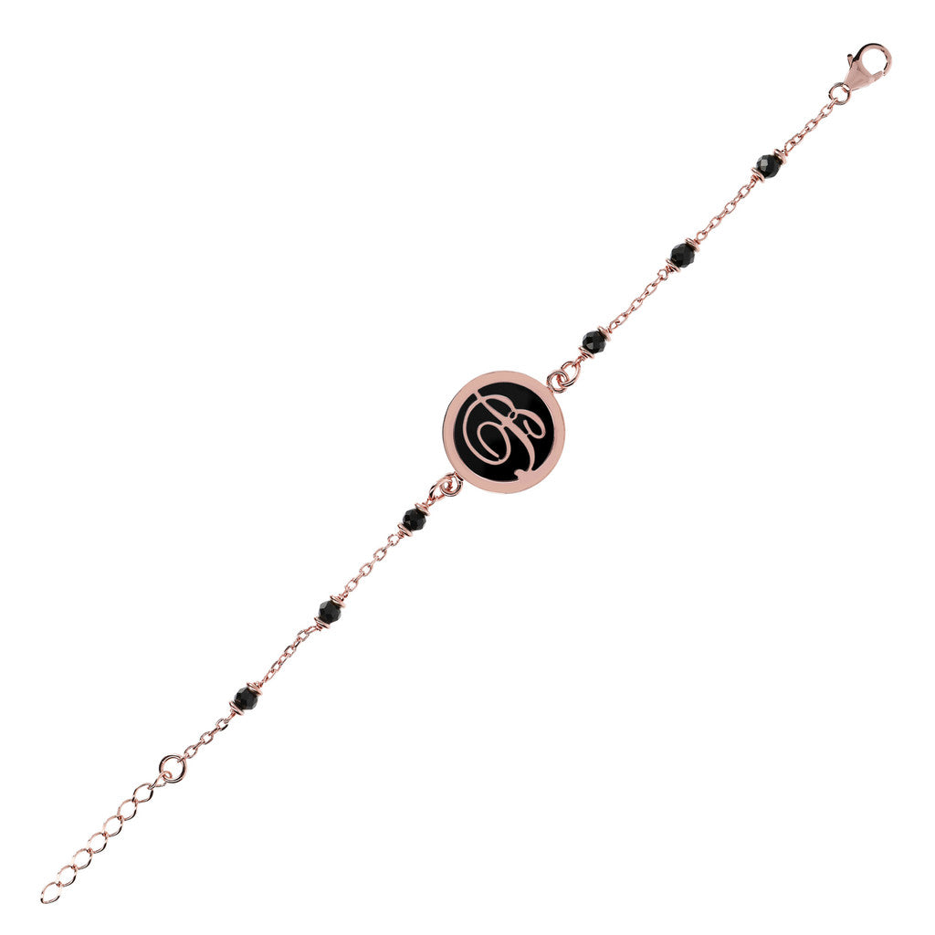 monogram medal bracelet with black spinel letter B