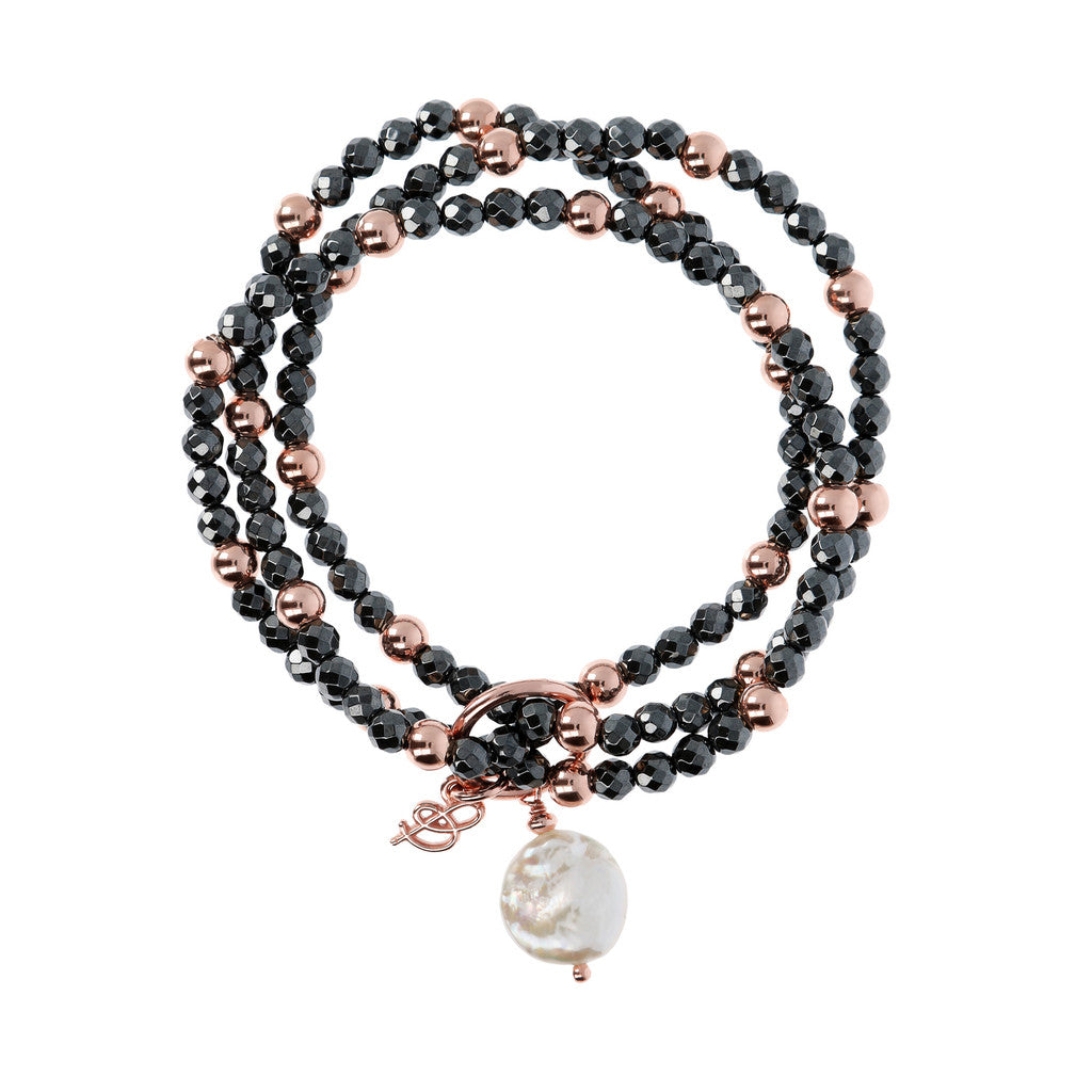 chain Hematite and Pearl Multirow Bracelet