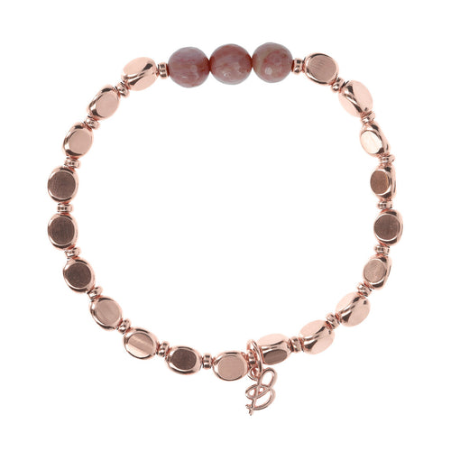 chain  Nugget and Gemstone Bracelet RHODOLITE