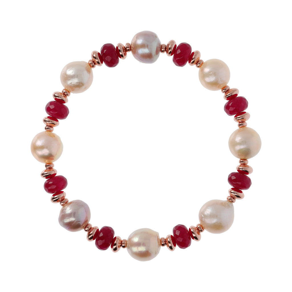 chain Pearls and Gemstones Bracelet PLUM AGATE