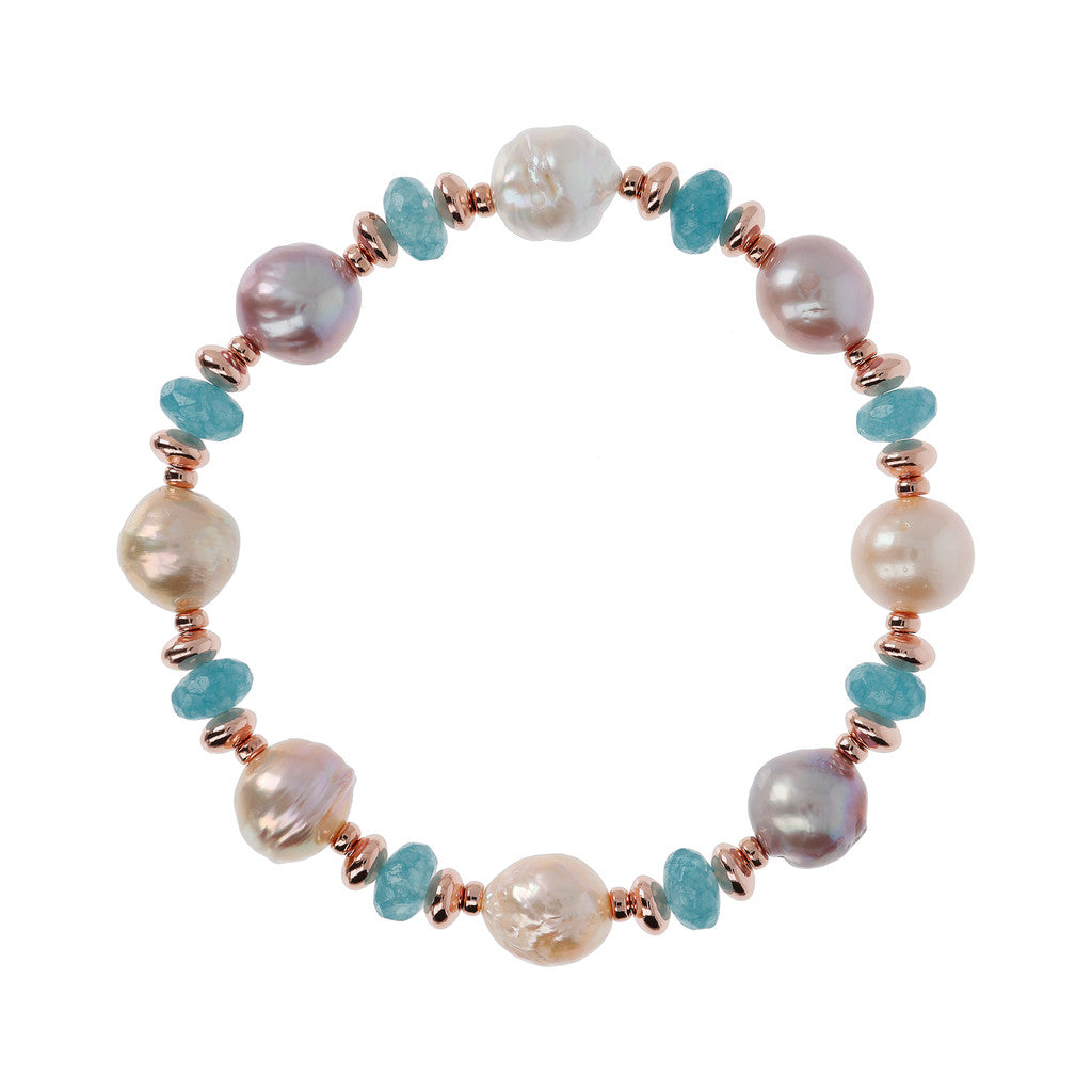 chain Pearls and Gemstones Bracelet