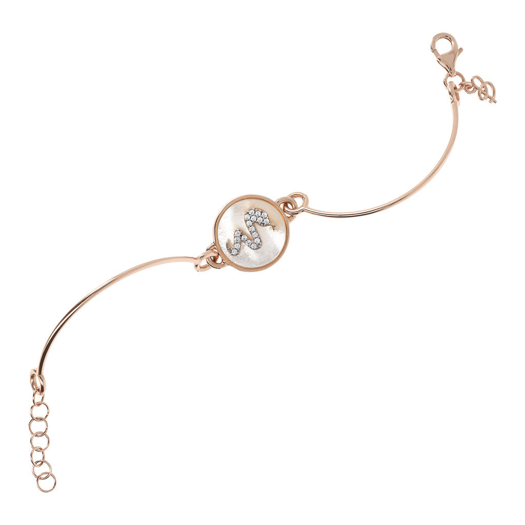 chain Semirigid Bangle with Mother of Pearl WHITE MOP