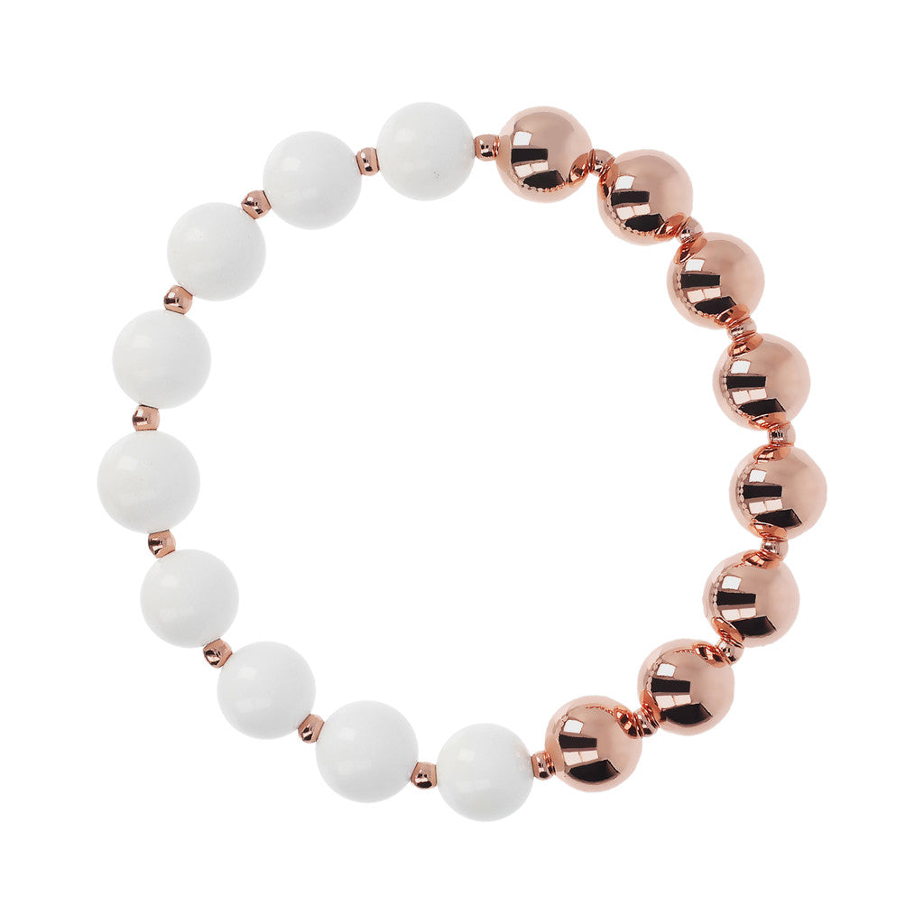 chain Stretch Bracelet Variegata CORAL WHITE