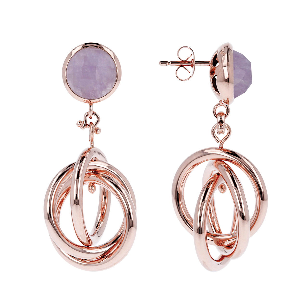 circle dangle earrings front and side